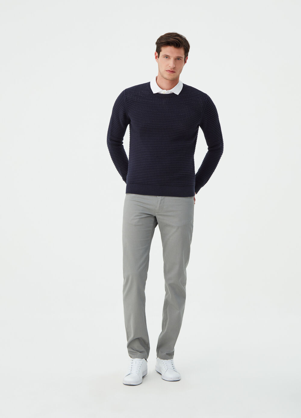 Regular-fit trousers with geometric weave