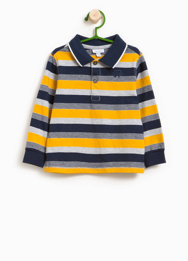 Striped cotton and viscose jersey polo shirt