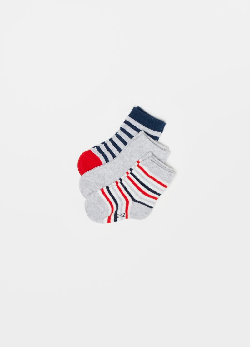 Three-pair pack short mélange socks with stripes image number null