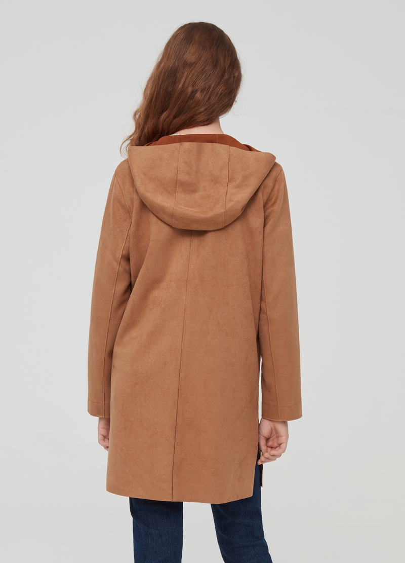 Leather-effect jacket with hood image number null