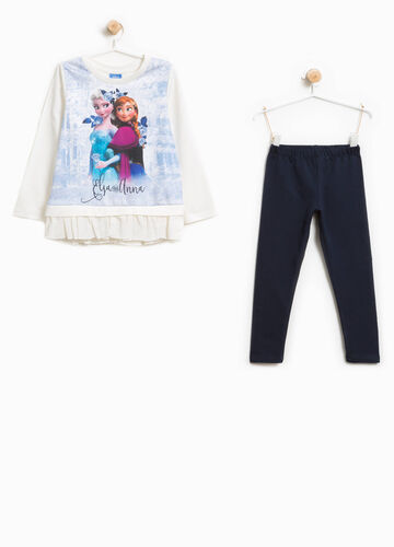 Cotton outfit with Frozen print and diamantés