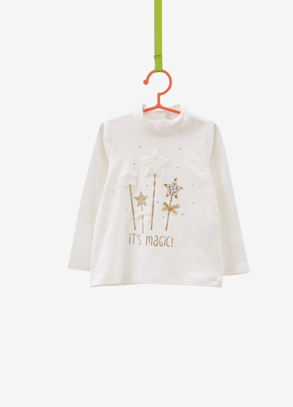 T-shirt in stretch cotton with high neck and diamantés