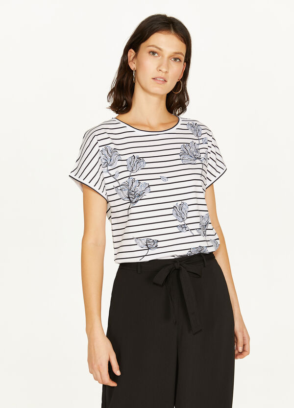 100% cotton T-shirt with stripes and flowers