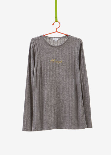 T-shirt with striped weave and lettering embroidery
