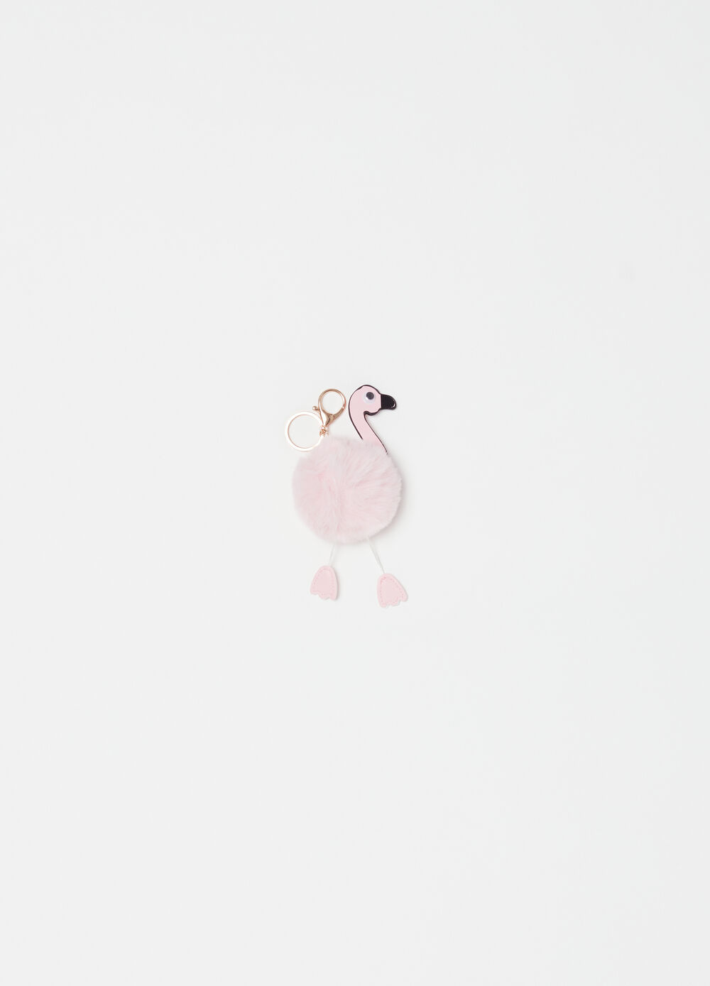 Flamingo keyring with pompom