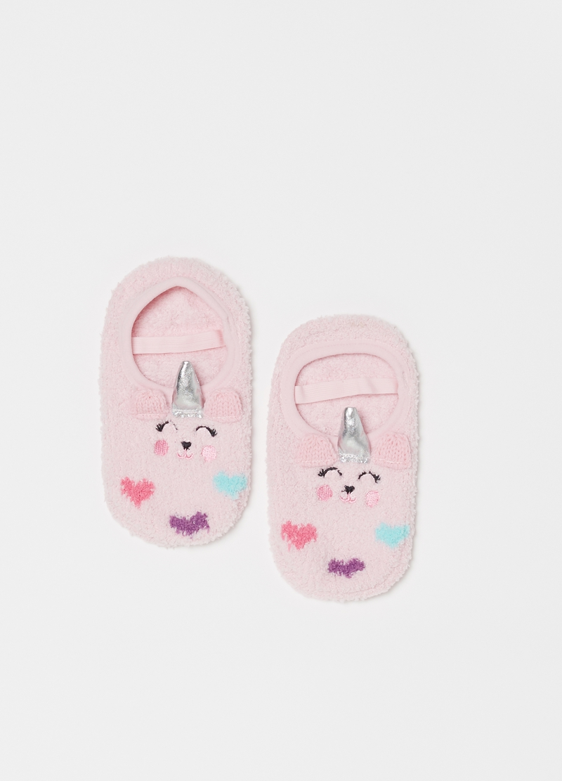 Slipper socks with strap and embroidery image number null