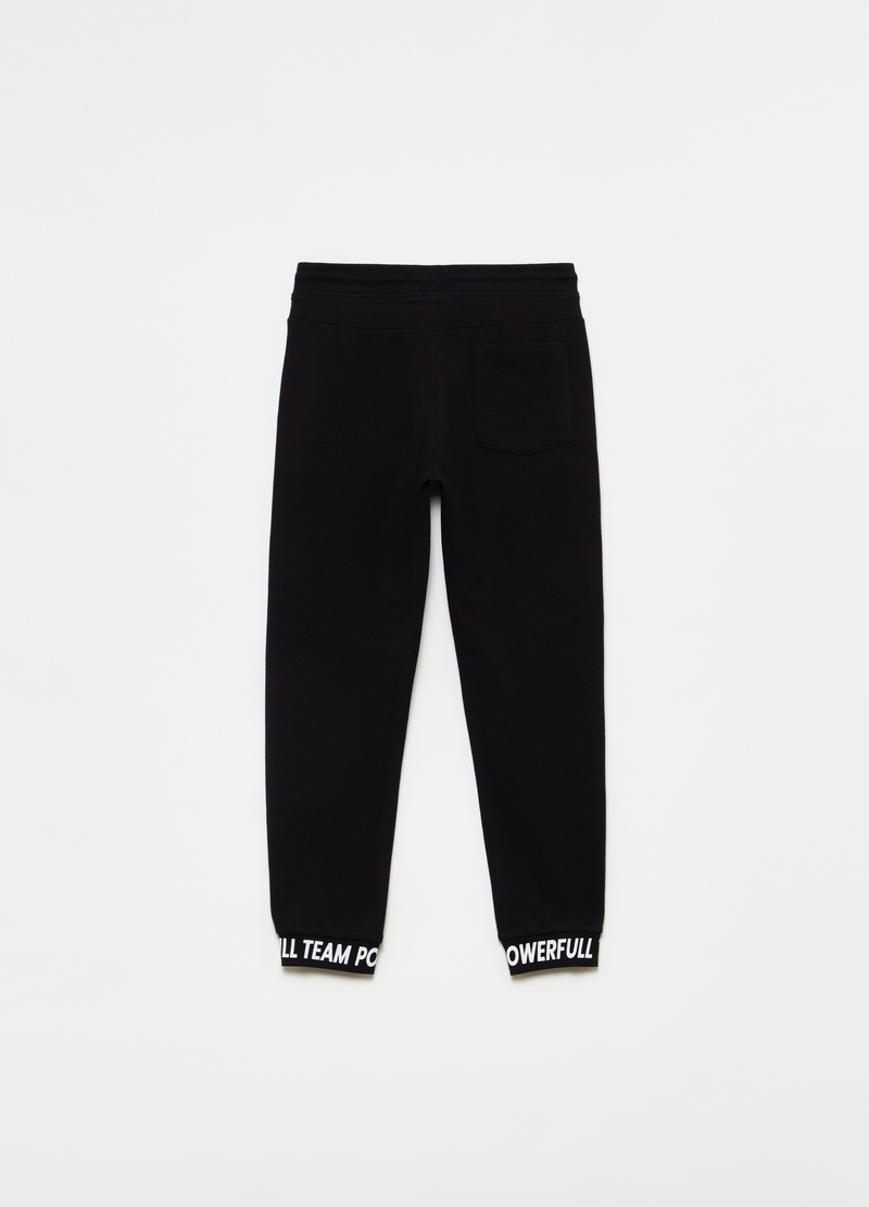 Joggers in puro cotone stampa lettering image number null
