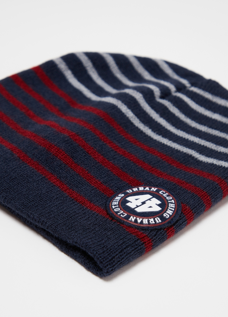 Striped jacquard hat image number null