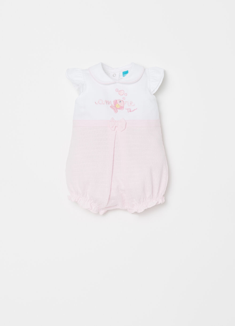 Short two-tone onesie with THUN embroidery