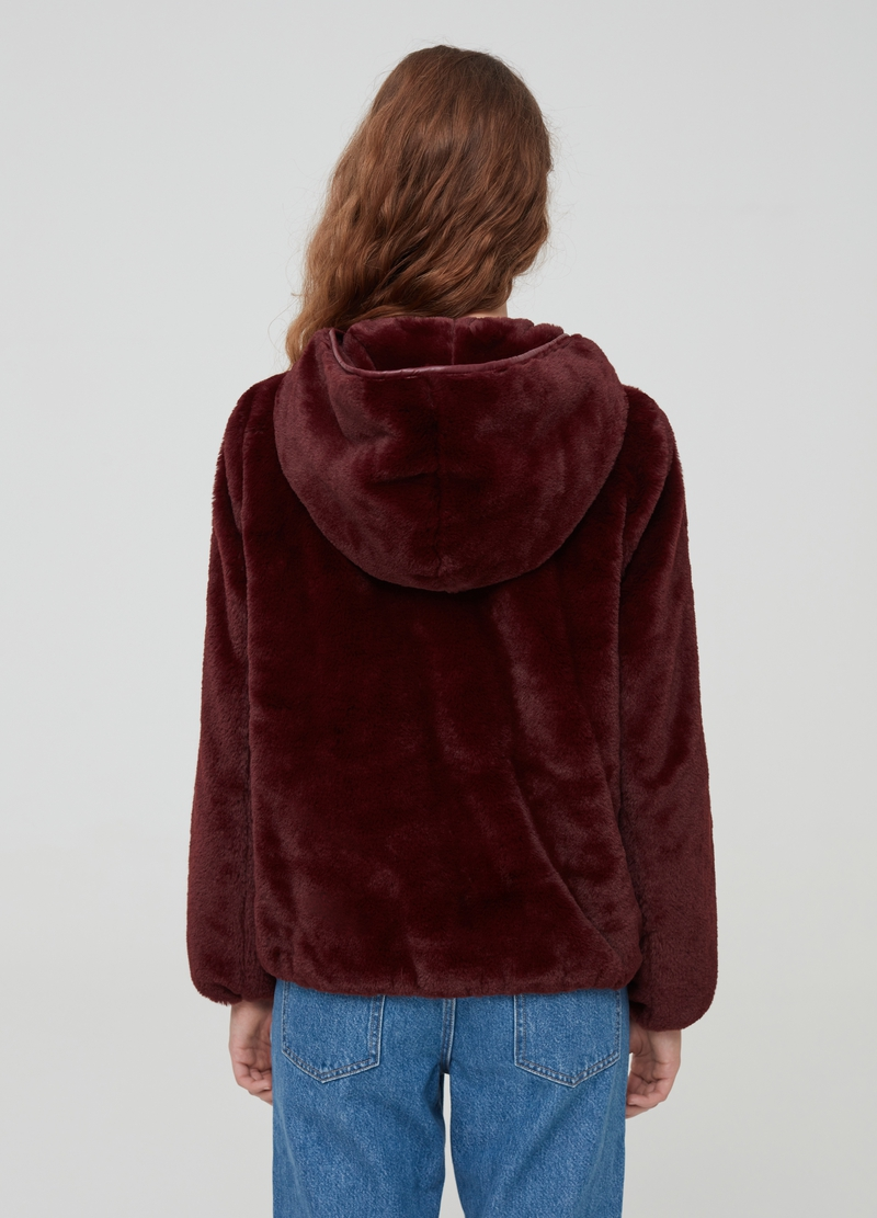 Faux fur jacket with hood image number null