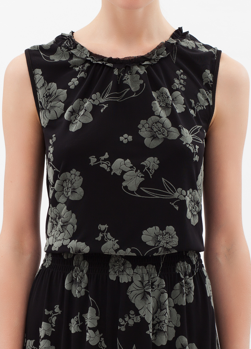 Sleeveless floral print dress image number null