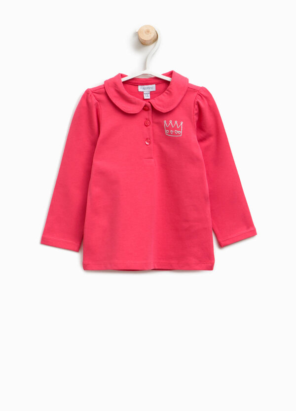 Cotton polo shirt with crown print | OVS