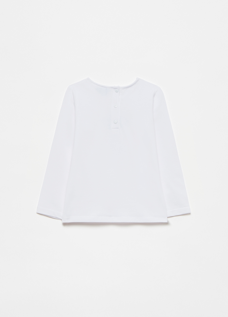 Stretch cotton T-shirt with flower application image number null