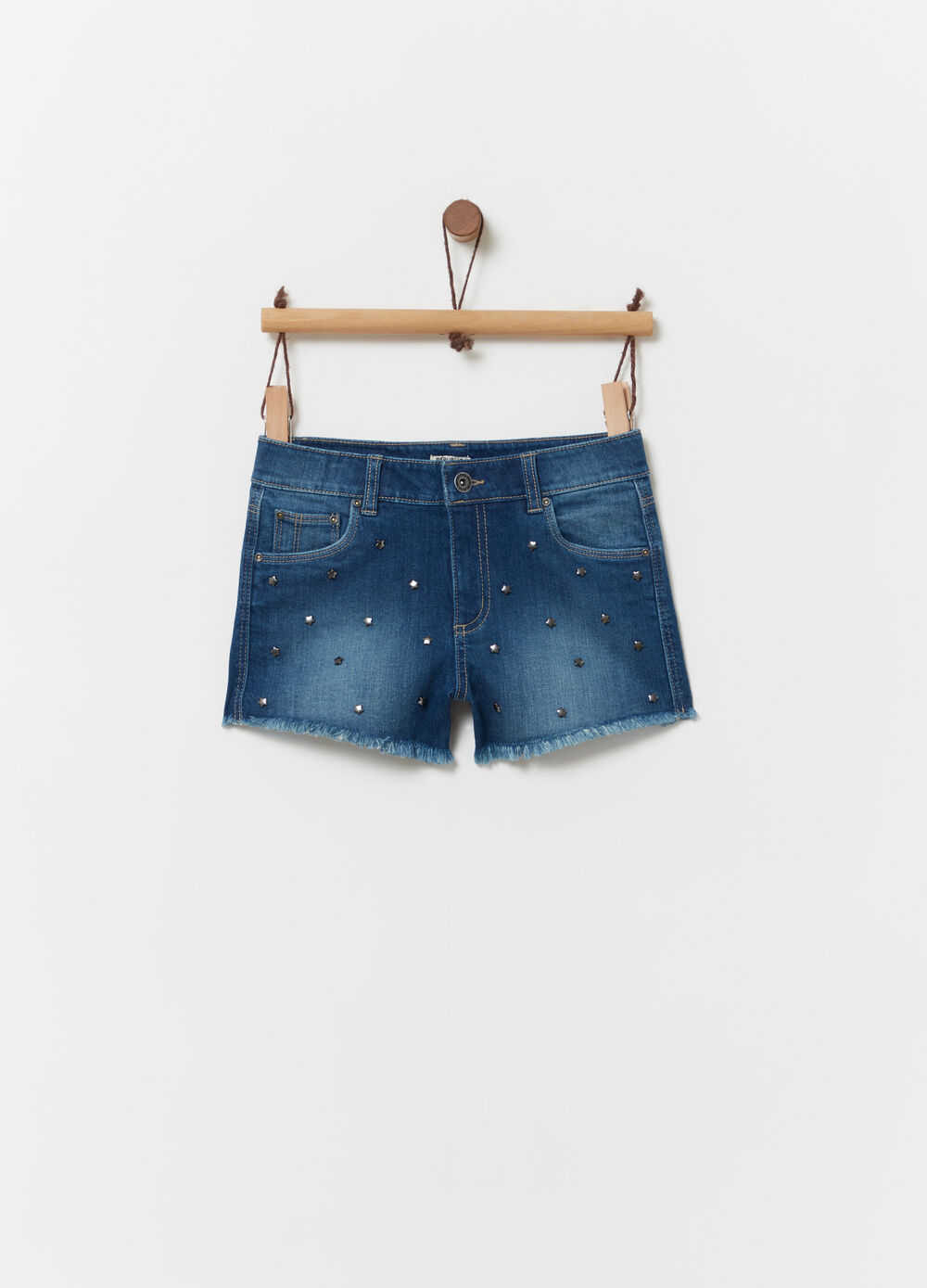 Denim shorts with star rivets