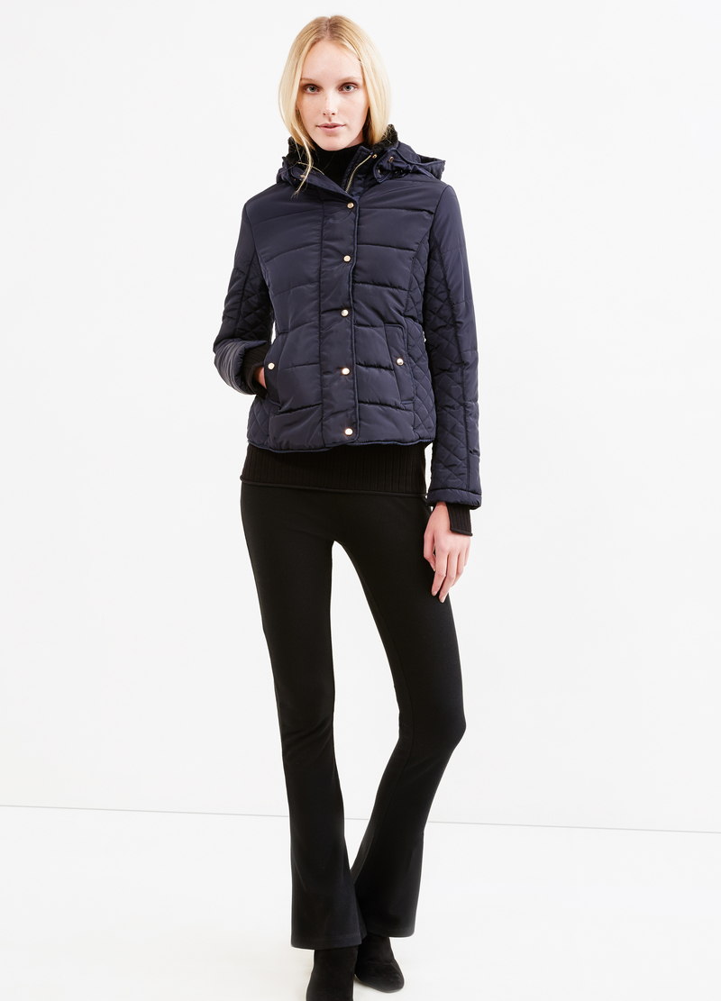 High neck down jacket with faux-fur lining image number null