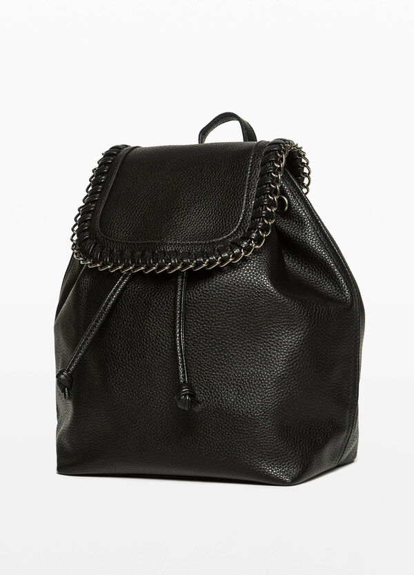 Textured backpack with chain trim