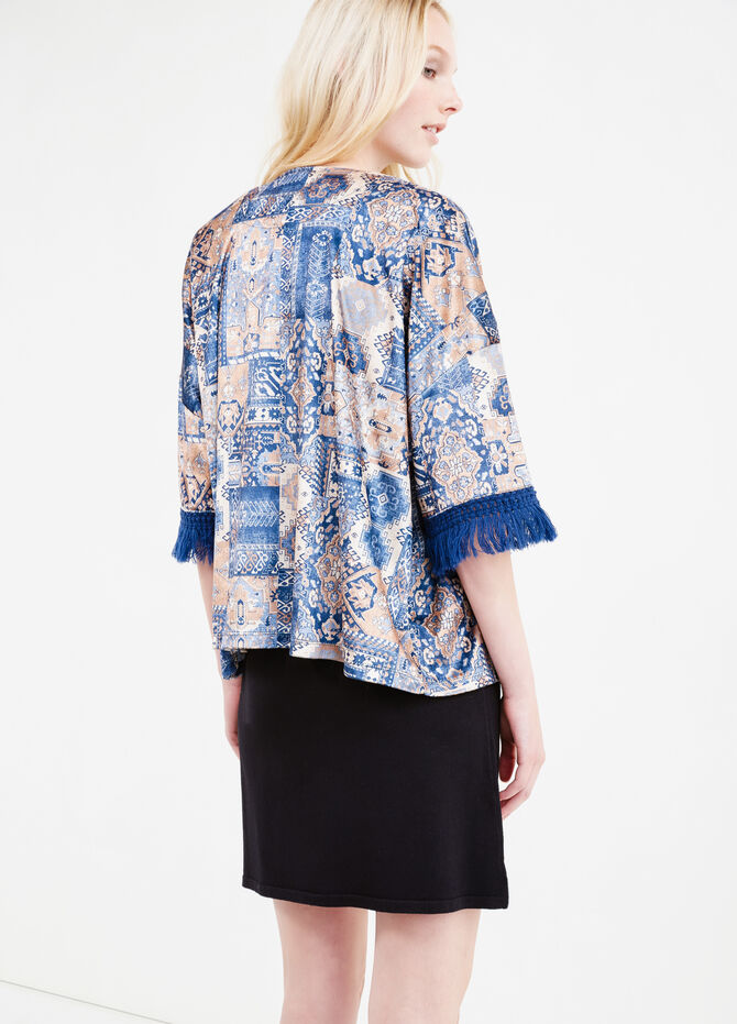 Sweatshirt with fringing and all-over print