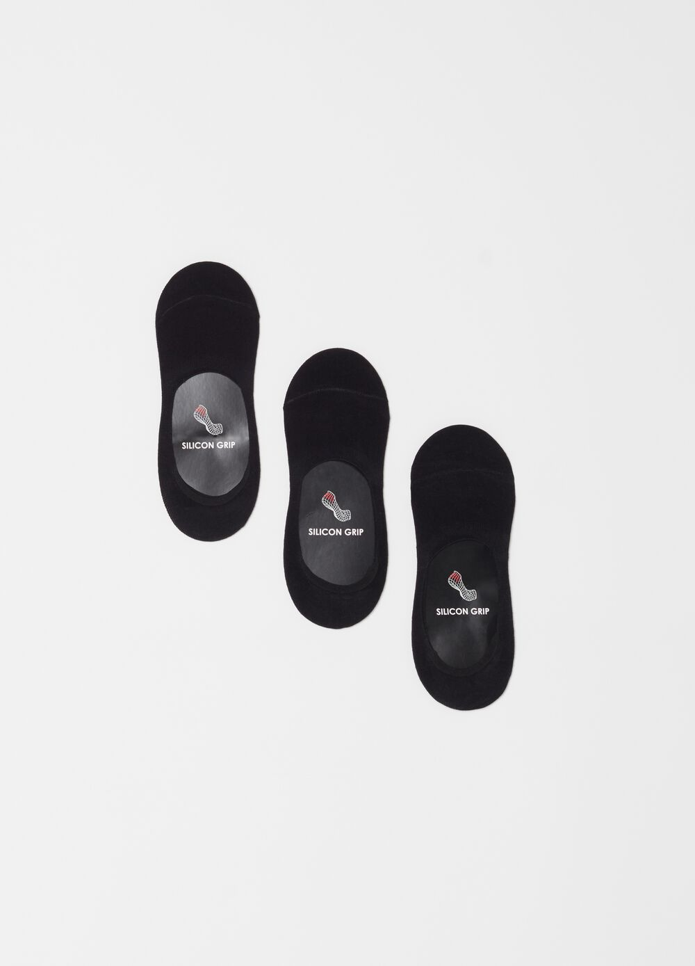 Three-pair pack shoe liners with silicon grip
