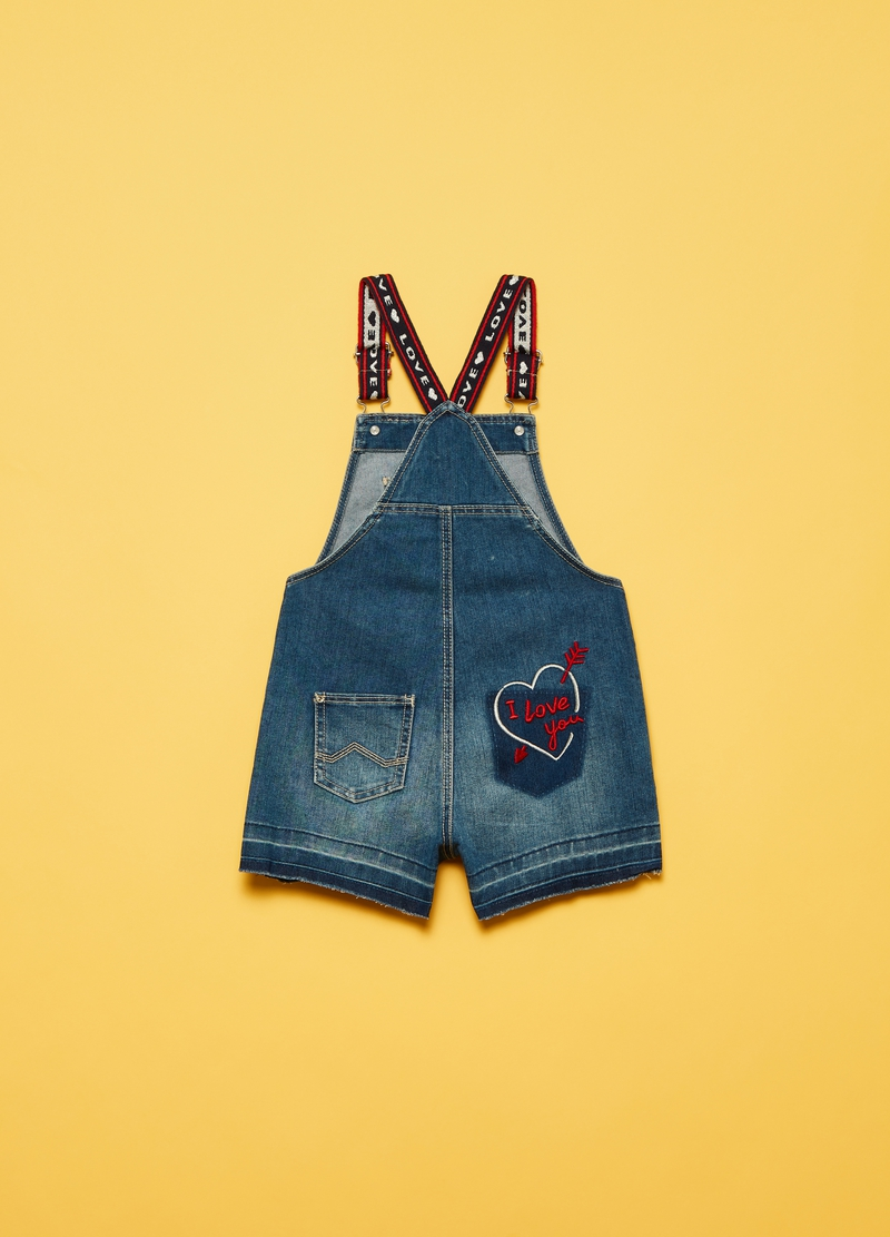Denim dungarees with embroidery image number null