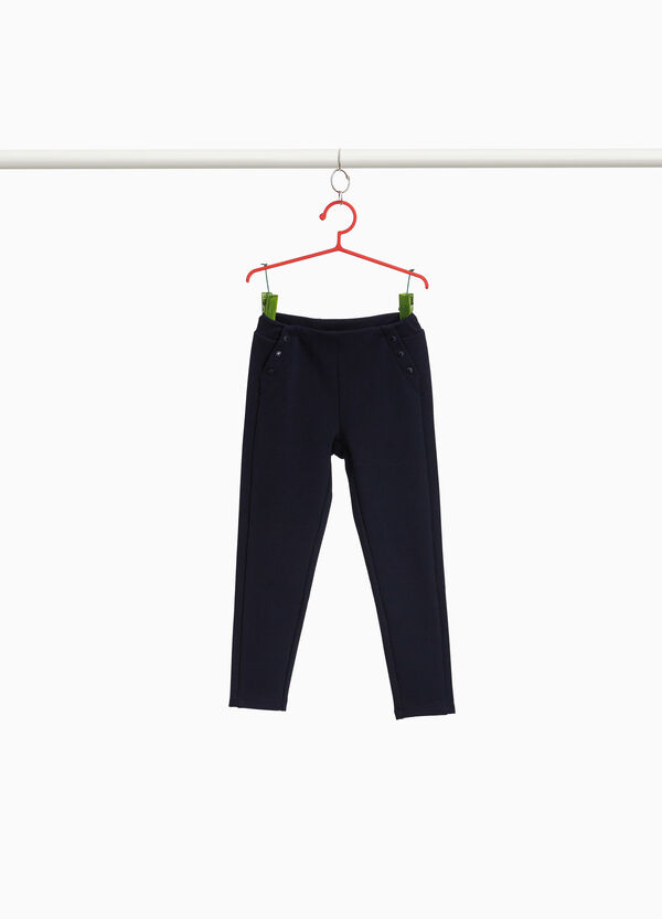 Pantaloni piquet stretch con bottoni