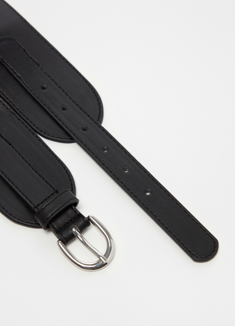 Wide belt in faux leather image number null
