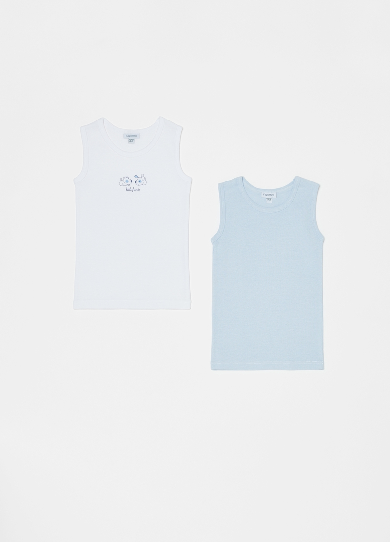 Two-pack 100% organic cotton undershirts with print image number null