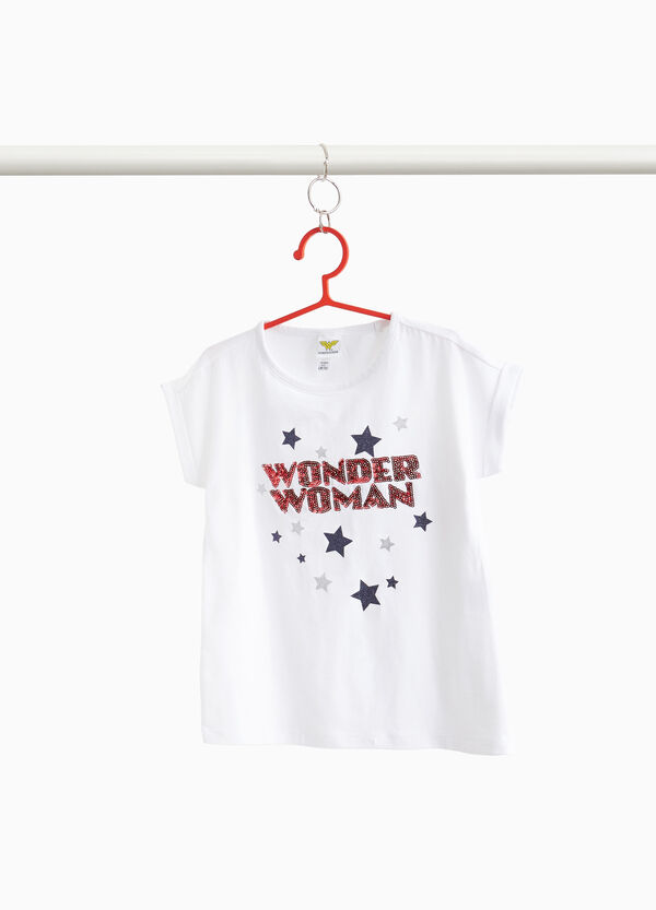 T-shirt stampa stelle e Wonder Woman