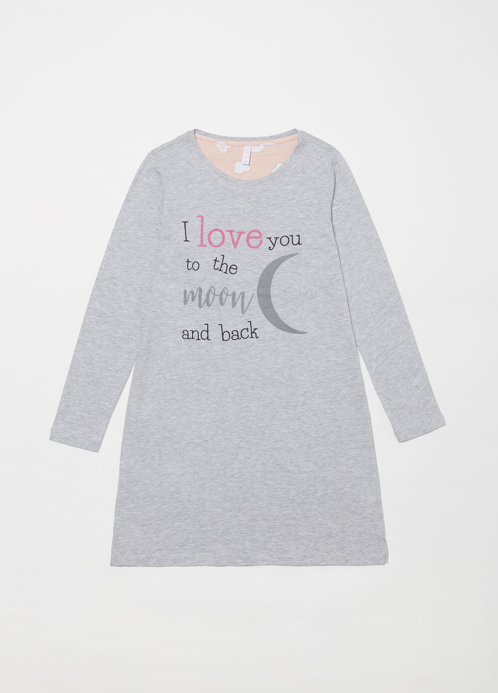 Nightshirt with I love you glitter print