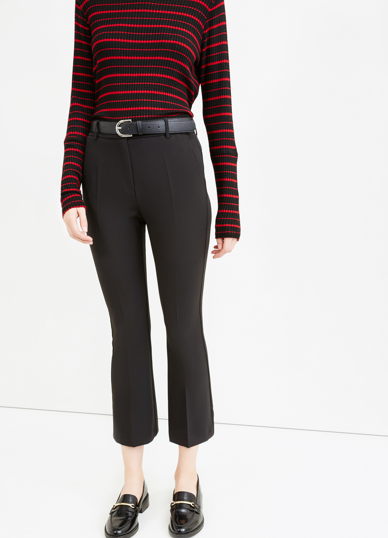 Stretch cropped flared trousers image number null