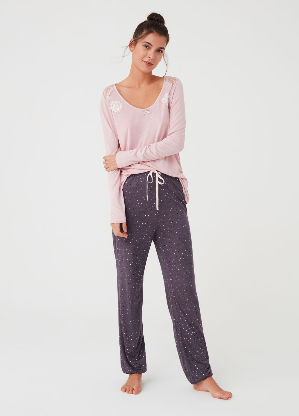 Pyjama trousers with polka dot pattern