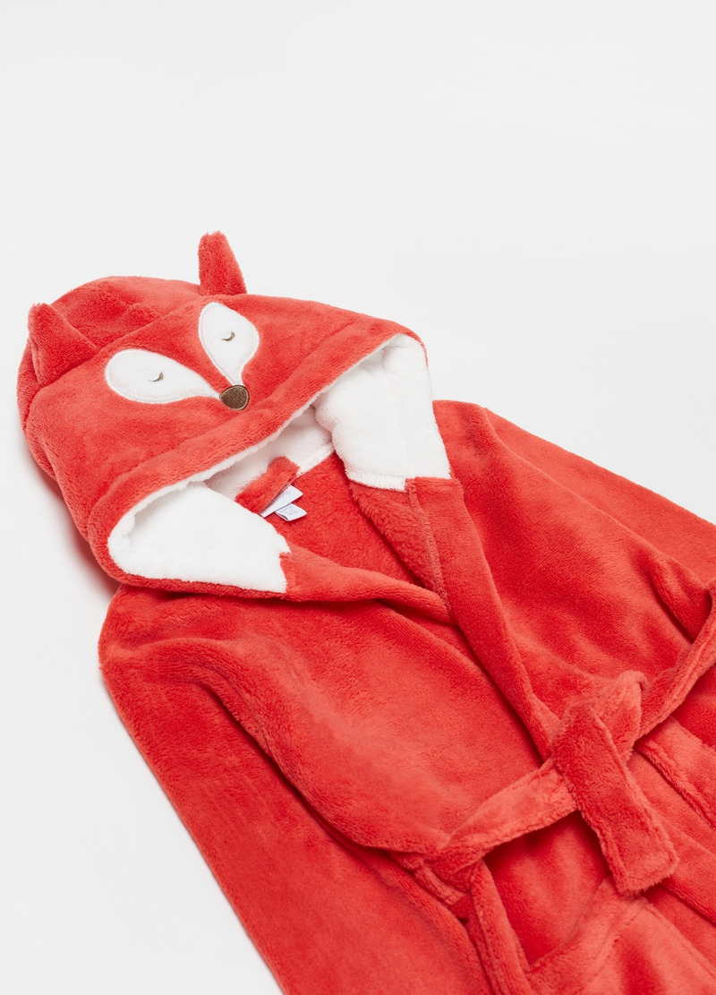 Bathrobe with hood and fox embroidery image number null