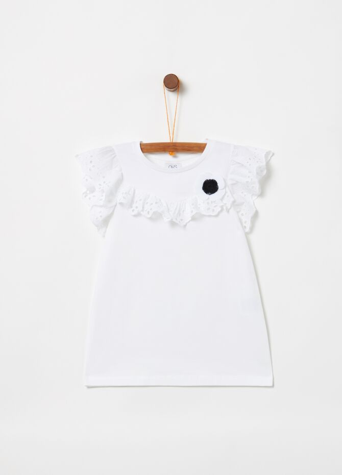 T-shirt biocotton con pizzo sangallo