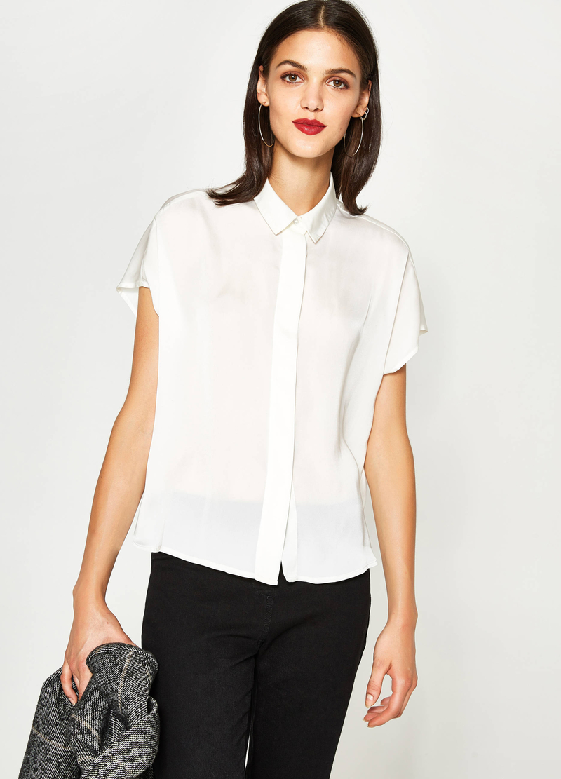 Satin shirt with cap sleeves image number null