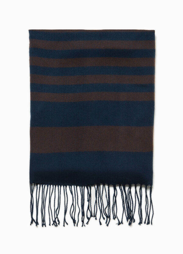 Striped weave and patterned scarf | OVS