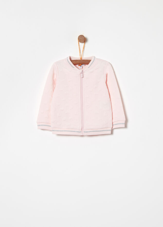 Full-zip quilted sweatshirt with hearts