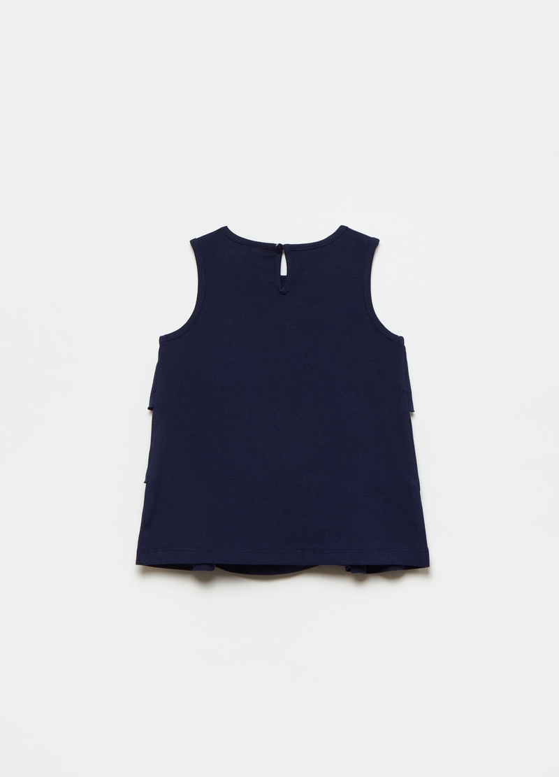 Tank top in cotone con balze image number null