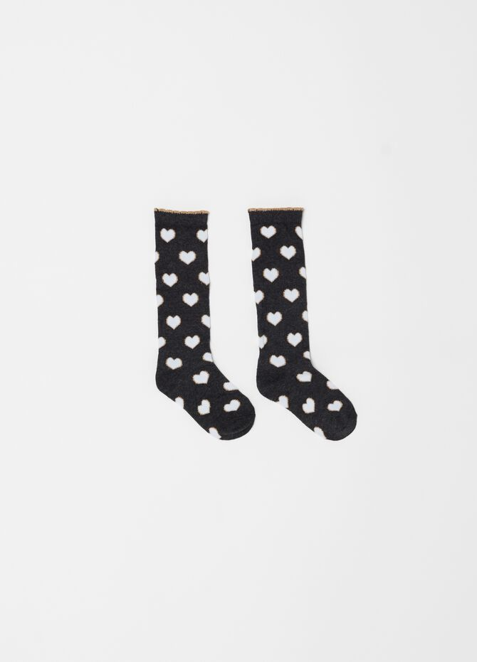 Two-pair pack long socks with heart pattern