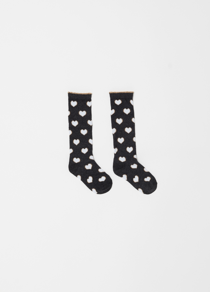 Two-pair pack long socks with heart pattern image number null