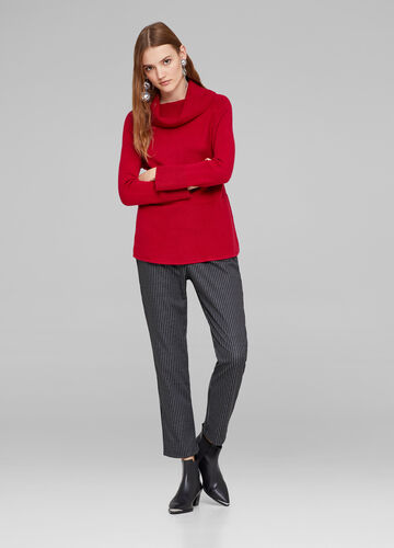High neck pullover with braided weave