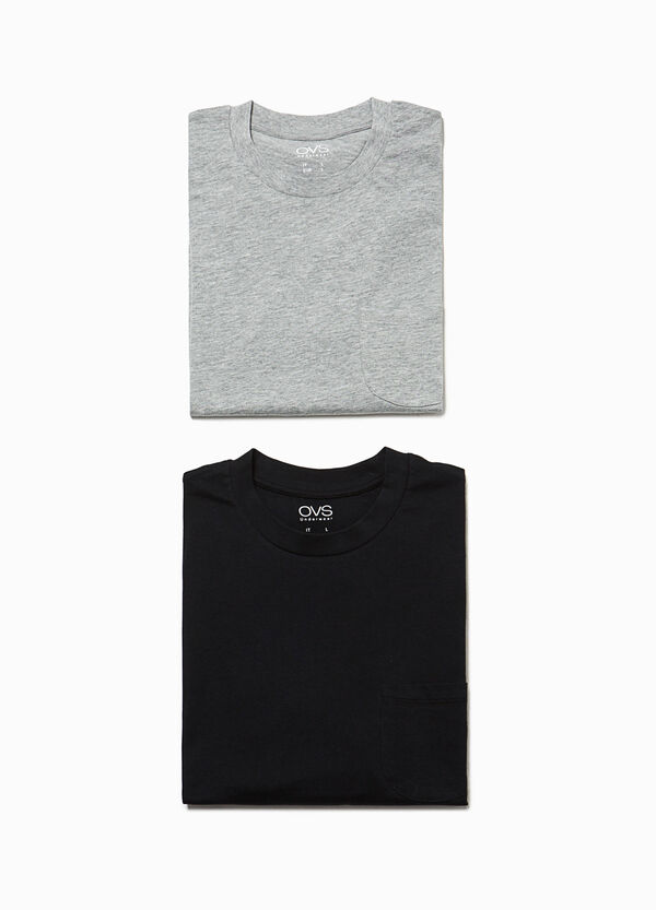 Two-pack cotton pyjama tops with pocket