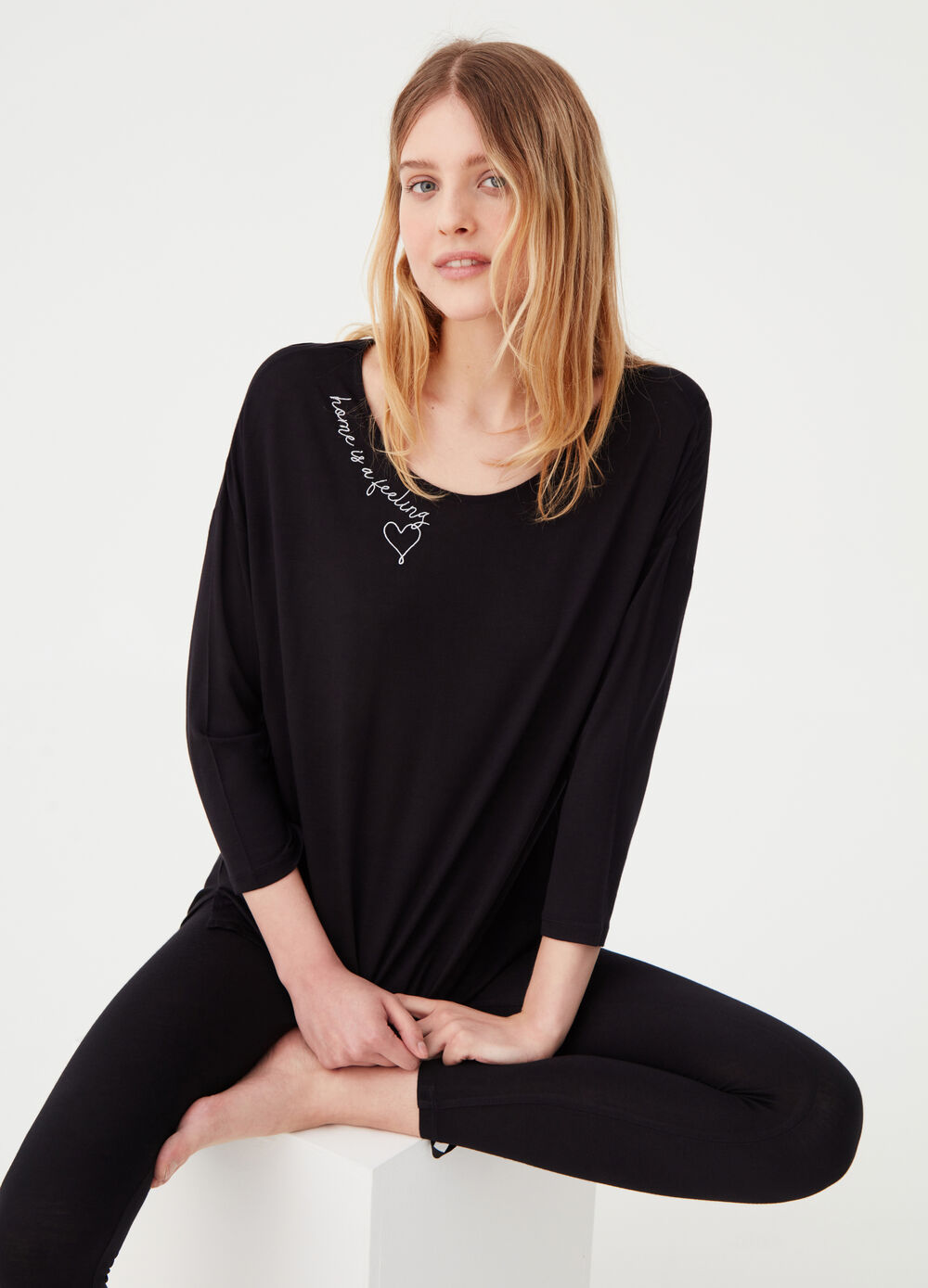Oversized homewear T-shirt in soft viscose