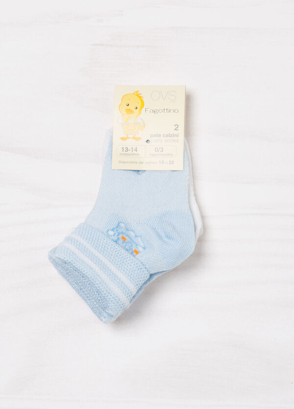Two-pair pack stretch socks with pattern | OVS