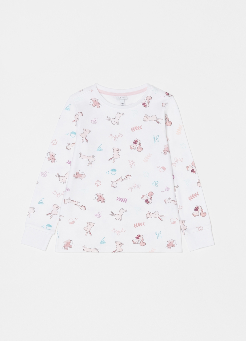 100% cotton pyjamas with rabbits and squirrels image number null