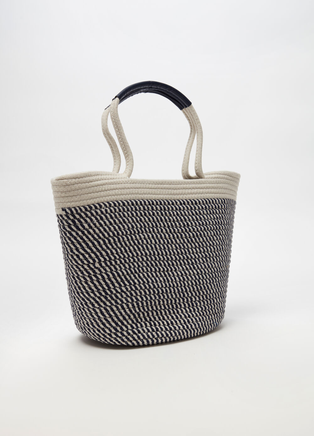 Beach bag in two-tone cotton