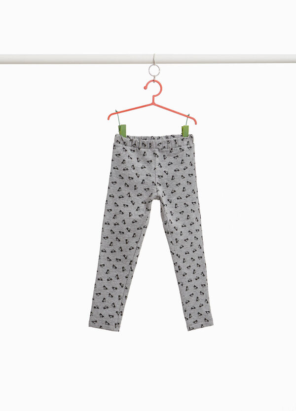 Cotton and viscose trousers with kitten print