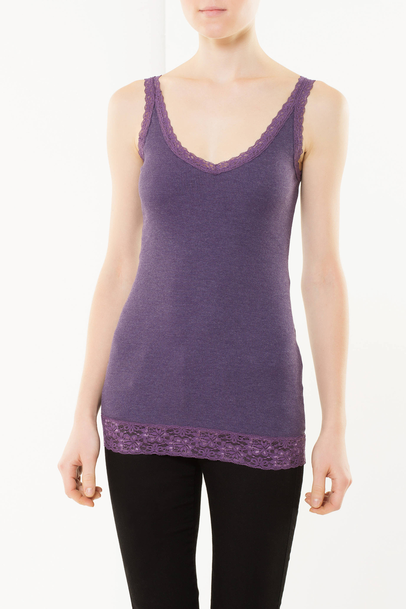 Tank top with lace inserts image number null