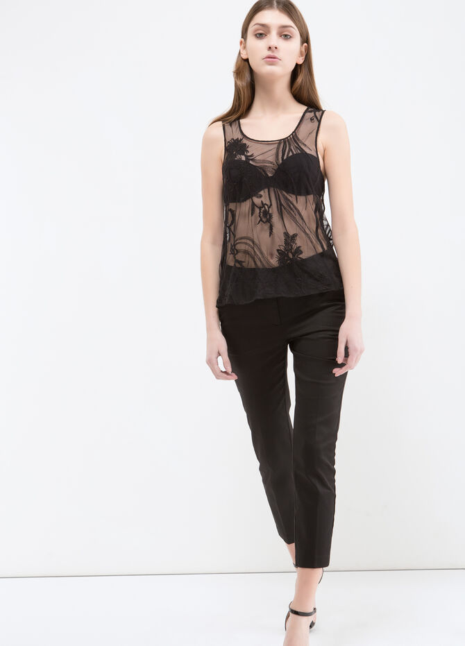 Top with sheer lace