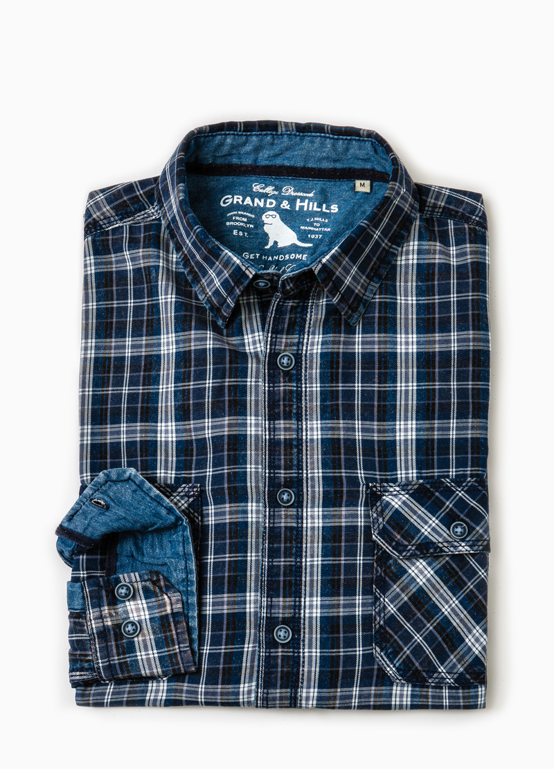Camicia casual cotone tartan G&H image number null