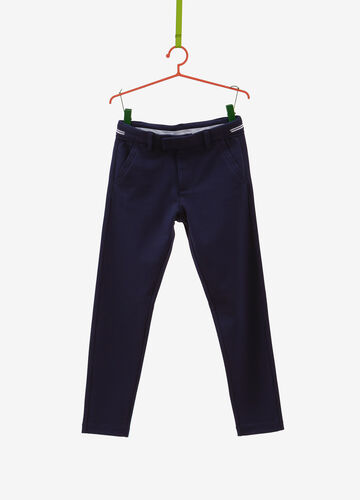 Solid colour trousers in viscose blend