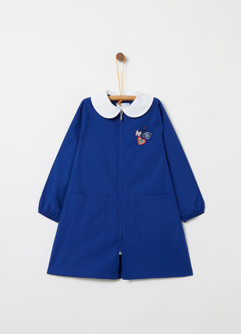 School smock with bluff collar, pockets and zip